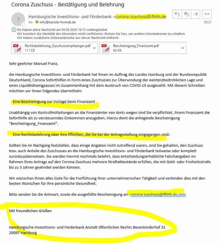 Phinig-Mail Corona Fördermaßnahmen